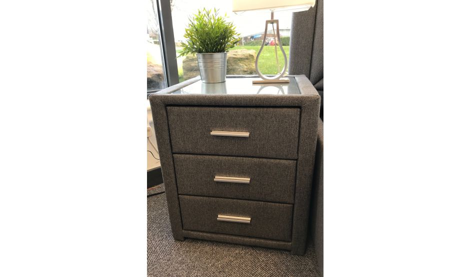 Laike Grey Stanford 3 Drawer Bedside Cabinet with USB Charging