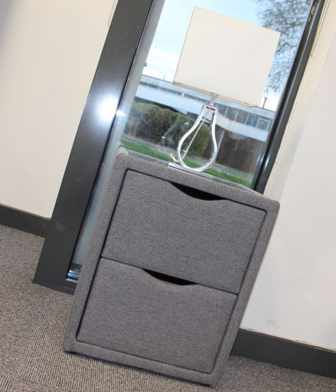 Laike Grey 2 Drawer Side Unit with Glass Top