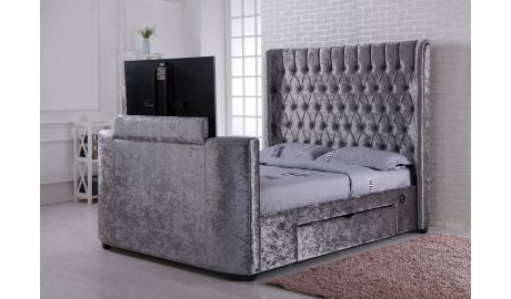 Crushed Silver Velvet Winchester TV bed with Storage CUSTOM BUILT
