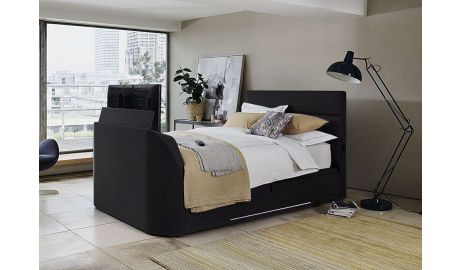 Connect TV Bed In Black Leather