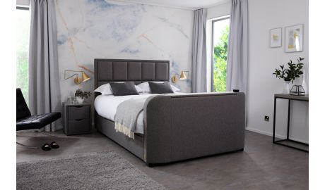 Harvard IV Audio Ottoman Double TV Bed In Laike Grey