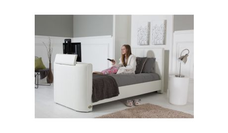 Alpha Single TV Bed In White